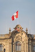 Flag of Peru on Palacio de Gobierno (Government Palace) in Lima, Peru.