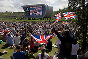 The Team GB slalom canoeists Tim Baillie and Etienne Stott celebrate after their C2 final race watched by celebrating fans in the Olympic Park during the London 2012 Olympics. This land was transformed to become a 2.5 Sq Km sporting complex, once industrial businesses and now the venue of eight venues including the main arena, Aquatics Centre and Velodrome plus the athletes' Olympic Village. After the Olympics, the park is to be known as Queen Elizabeth Olympic Park.