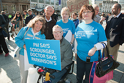 Demonstration against Coalition cuts to disabled people's services and income. Parkinson's group.