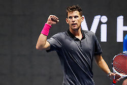 September 22, 2018 - Saint Petersburg, Russia - Dominic Thiem of Austria celebrates during his St. Petersburg Open 2018 semi final tennis match against Roberto Bautista Agut of Spain on September 22, 2018 in Saint Petersburg, Russia. (Credit Image: © Mike Kireev/NurPhoto/ZUMA Press)