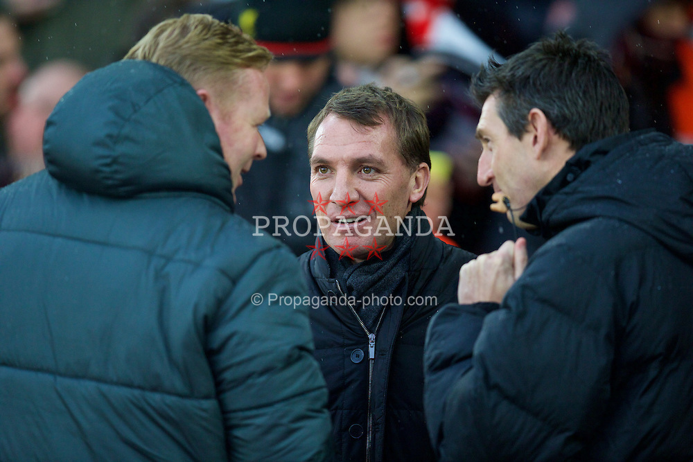 SOUTHAMPTON, ENGLAND - Sunday, February 22, 2015: Liverpool's manager Brendan Rodgers and Southampton's manager Ronald Koeman before the FA Premier League match at St Mary's Stadium. (Pic by David Rawcliffe/Propaganda)