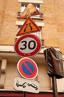 Traffic signs, Paris <br /> Photograph by Owen Franken