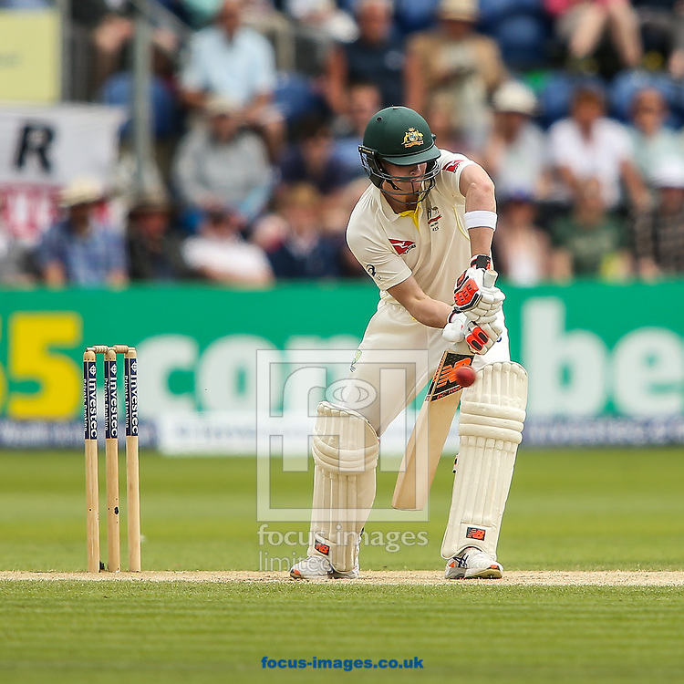 Steve Smith of Australia glances the ball to Ian Bell of England (not shown) and is dismissed during the Investec Ashes Series Test Match at Sophia Gardens, Cardiff<br /> Picture by Andy Kearns/Focus Images Ltd 0781 864 4264<br /> 11/07/2015