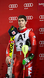27.01.2015, Planai, Schladming, AUT, FIS Skiweltcup Alpin, Schladming, Siegerehrung, im Bild Stefano Gross (ITA) // Stefano Gross (ITA) during the prize giving ceremony of the men's slalom of Schladming FIS Ski Alpine World Cup at the Planai Course in Schladming, Austria on 2015/01/27, EXPA Pictures © 2015, PhotoCredit: EXPA/ Erwin Scheriau