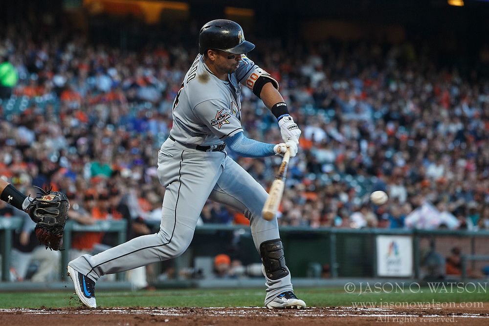 SAN FRANCISCO, CA - JULY 07: Martin Prado #14 of the Miami Marlins at bat against the San Francisco Giants during the first inning at AT&T Park on July 7, 2017 in San Francisco, California. The Miami Marlins defeated the San Francisco Giants 6-1. (Photo by Jason O. Watson/Getty Images) *** Local Caption *** Martin Prado