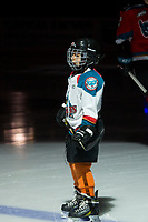 KELOWNA, CANADA - OCTOBER 28: The Pepsi player of the game lines up on the blue line with the Kelowna Rockets against the Prince George Cougars on October 28, 2017 at Prospera Place in Kelowna, British Columbia, Canada.  (Photo by Marissa Baecker/Shoot the Breeze)  *** Local Caption ***