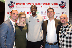 Hameed Ali of Bristol Flyers with sponsors - Mandatory by-line: Robbie Stephenson/JMP - 12/09/2016 - BASKETBALL - Ashton Gate Stadium - Bristol, England - Bristol Flyers Sponsors Event