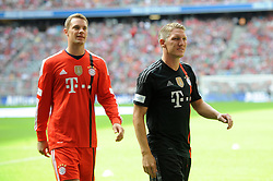 09.08.2014, Allianz Arena, Muenchen, GER, 1. FBL, FC Bayern Muenchen, Saisoneröffung, im Bild vl. Torwart Manuel Neuer (FC Bayern Muenchen) und Bastian Schweinsteiger (FC Bayern Muenchen) // during the saison opening of German 1st Bundesliga Club FC Bayern Munich at the Allianz Arena in Muenchen, Germany on 2014/08/09. EXPA Pictures © 2014, PhotoCredit: EXPA/ Eibner-Pressefoto/ Stuetzle<br /> <br /> *****ATTENTION - OUT of GER*****