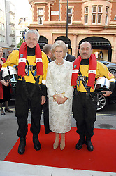 Left to right, RNLI lifeboat man DAVID FERGUSON, HRH PRINCESS ALEXANDRA and RNLI Lifeboat man STEPHEN WHEATLEY at a fund raising evening in aid of the Royal National Lifeboat Institution at Garrard, 24 Albemarle Street, London W1 on 23rd April 2008.<br />