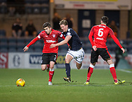 24th November 2017, Dens Park, Dundee, Scotland; Scottish Premier League football, Dundee versus Rangers; Rangers' Declan John and Dundee's Mark O'Hara battle for the ball as Rangers' Danny Wilson watches