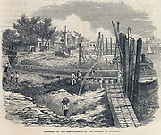 Work in progress on building the Thames Embankment at Chelsea, ondon, 1857.