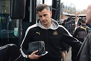 Newcastle United goalkeeper Karl Darlow (26) gets off the team coach during the EFL Sky Bet Championship match between Birmingham City and Newcastle United at St Andrews, Birmingham, England on 18 March 2017. Photo by Alan Franklin.