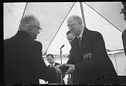 15/04/1966<br /> 04/15/1966<br /> 15 April 1966<br /> Unveiling of Plaque at Boland's Mills. President Eamon de Valera unveils a plaque to commemorate the 1916 Rising at Bolands Mills, where he was Commandant during the insurrection. Picture shows  the President presenting an award to a veteran of the Rising.
