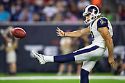 HOUSTON, TX - AUGUST 29:  Brock Miller #2 of the Los Angeles Rams punts the ball during a game against the Houston Texans during week four of the preseason at NRG Stadium on August 29, 2019 in Houston, Texas. The Rams defeated the Texans 22-10.   (Photo by Wesley Hitt/Getty Images) *** Local Caption *** Brock Miller
