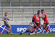 Robert Lui for Salford Reds stopped by Greg Bird for Catalan Dragons during the Betfred Super League match between Salford Red Devils and Catalan Dragons at the AJ Bell Stadium, Eccles, United Kingdom on 30 March 2018. Picture by George Franks.