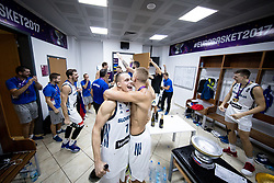 Klemen Prepelic of Slovenia and Edo Muric of Slovenia celebrating in a locker room after winning during the Final basketball match between National Teams  Slovenia and Serbia at Day 18 of the FIBA EuroBasket 2017 when Slovenia became European Champions 2017, at Sinan Erdem Dome in Istanbul, Turkey on September 17, 2017. Photo by Sportida