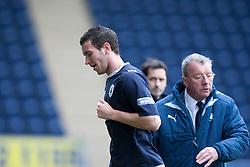Falkirk's Kieran Duffie sent off by ref William Collum..Falkirk 1 v 1 Partick Thistle, 10/3/2012..©Michael Schofield.