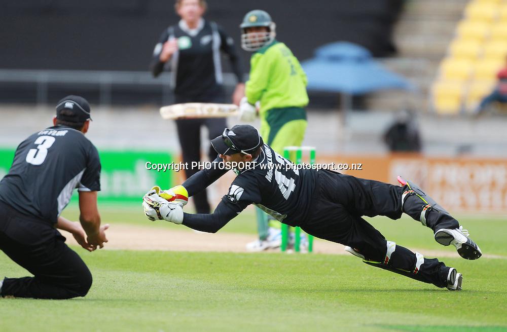 Brendon McCullum takes a catch to dismiss Abdur Rehman off the bolwing of Jacob Oram. New Zealand Black Caps v Pakistan, ODI Cricket. Match 1, Westpac Stadium, Wellington, New Zealand. Saturday 22 January 2011. Photo: Andrew Cornaga/photosport.co.nz