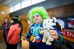 Fan during Arrival of Zan Kosir, Bronze medalist at Olympic Games in Pyeongchang 2018, on February 26, 2018 in Aerodrom Ljubljana, Letalisce Jozeta Pucnika, Kranj, Slovenia. Photo by Ziga Zupan / Sportida
