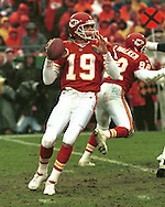 Kansas City quarterback Joe Montana during game action against the San Diego Chargers at Arrowhead Stadium in Kansas City, Missouri in 1994.