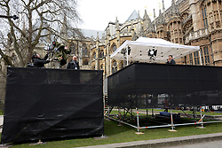 © Licensed to London News Pictures. 16/04/2013. London, UK. BBC staff prepare for the funeral at Westminster a day before the funeral of former Prime Minister Margaret Thatcher, on April 16, 2013 in London. Photo credit : Peter Kollanyi/LNP