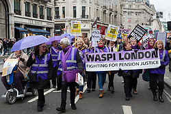 London, UK. 12th January, 2019. Women from WASPI London join hundreds of protesters taking part in a 'Britain is Broken: General Election Now' demonstration organised by the People's Assembly Against Austerity. Organisers argued that the overriding objective of working people in the UK should be to remove the Conservative Government from power through a general election regardless of their vote in the EU referendum.