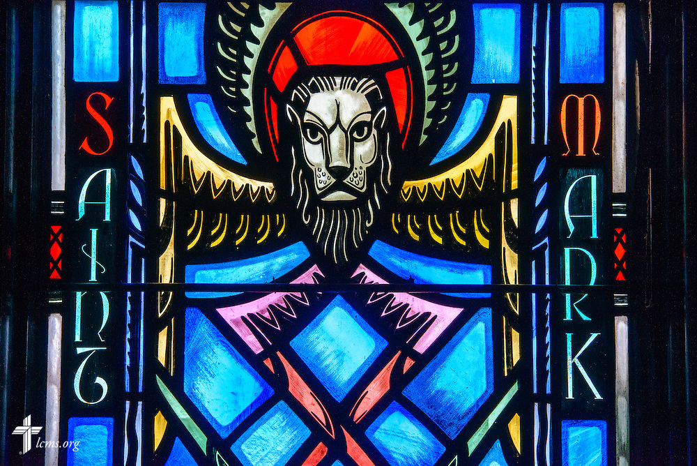 Stained glass at Luther Memorial Chapel depicts St. Mark as a lion, on Friday, Jan. 29, 2016, in Shorewood, Wis. LCMS Communications/Erik M. Lunsford