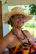 Polynesian woman, black pearl, necklace, Rarotonga, Cook Islands, South Pacific