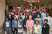 Participants of the Junior Executive Business Program with College of Business Dean Hugh Sherman (Front Row Center) of Tyrone Carr. Photo by Ben Siegel/ Ohio University