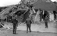 Soldiers at the scene of Provisional IRA bomb attack which completely destroyed the clubhouse of Belfast Boat Club, N Ireland, August, 1972. 197208000426a<br />