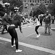 Playing Double Dutch at Union Square in New York City