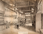 Chemical laboratory and lecture theatre, University College School, London, England. Tinted lithograph c1870.