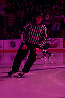 KELOWNA, BC - JANUARY 24: Line official Michael McGowan warms up on the ice at the Kelowna Rockets against the Seattle Thunderbirds at Prospera Place on January 24, 2020 in Kelowna, Canada. (Photo by Marissa Baecker/Shoot the Breeze)