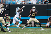 Michael Thomas(13) catches a first down pass in the New Orleans Saints 34 to 13 victory over the Carolina Panthers.