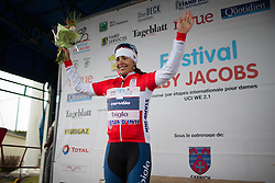 Carmen Small (USA) of Cervélo-Bigla Cycling Team celebrates her red jersey after the first, 106.9km road race stage of Elsy Jacobs - a stage race in Luxembourg, in Steinfort on April 30, 2016