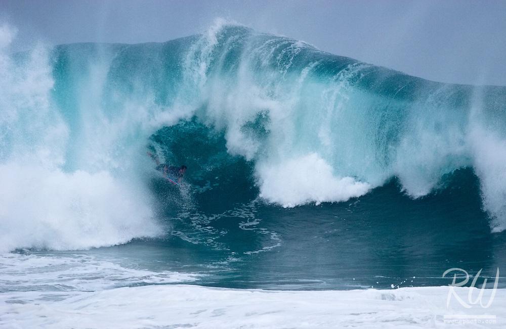 Bodyboarder Riding Inside Big Wave - The Wedge, Newport Beach, California