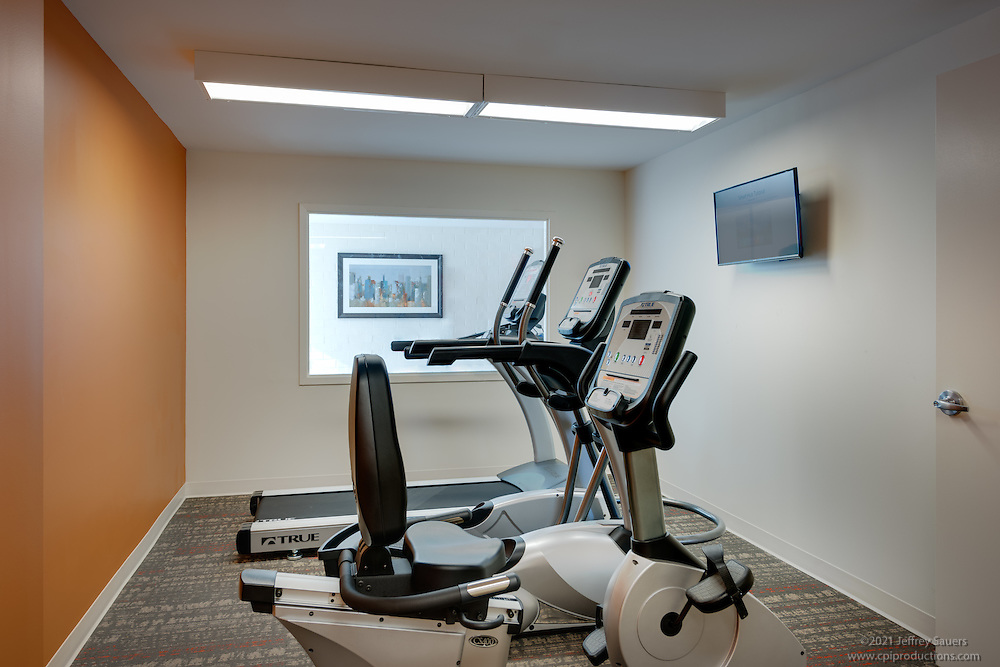 Interior image of the Fitness Center at the Allendale Apts in Baltimore Maryland by Jeffrey Sauers of Commercial Photographics, Architectural Photo Artistry in Washington DC, Virginia to Florida and PA to New England