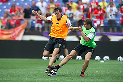 BALTIMORE, MD - Friday, July 27, 2012: Liverpool's Jack Robinson and John Flanagan during a training session ahead of the pre-season friendly match against Tottenham Hotspur at the M&T Bank Stadium. (Pic by David Rawcliffe/Propaganda)