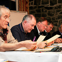The top table at the Clare Soccer League AGM in the Clare Inn on Thursday evening,.<br /><br />From left: Padraig McCullough, Jim Madden-Chairman, Ger Delaney, Peter Harrington and Frank Healy.<br /><br /><br /><br />Photograph by Yvonne Vaughan.