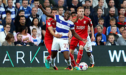 Yeni Atito Ngbakoto of Queens Park Rangers is fouled by Jamie Sendles-White of Swindon Town - Mandatory by-line: Robbie Stephenson/JMP - 10/08/2016 - FOOTBALL - Loftus Road - London, England - Queens Park Rangers v Swindon Town - EFL League Cup