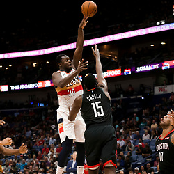 Mar 24, 2019; New Orleans, LA, USA; New Orleans Pelicans center Julius Randle (30) shoots over Houston Rockets center Clint Capela (15) during the second half at the Smoothie King Center. Mandatory Credit: Derick E. Hingle-USA TODAY Sports
