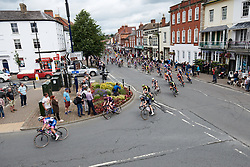 The peloton sweep around a corner at OVO Energy Women's Tour 2018 - Stage 4, a 130 km road race from Evesham to Worcester, United Kingdom on June 16, 2018. Photo by Sean Robinson/velofocus.com