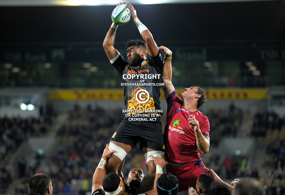Dylan Collier takes lineout ball during the Super Rugby match between the Chiefs and Reds at Yarrow Stadium in New Plymouth, New Zealand on Saturday, 6 May 2017. Photo: Dave Lintott / lintottphoto.co.nz