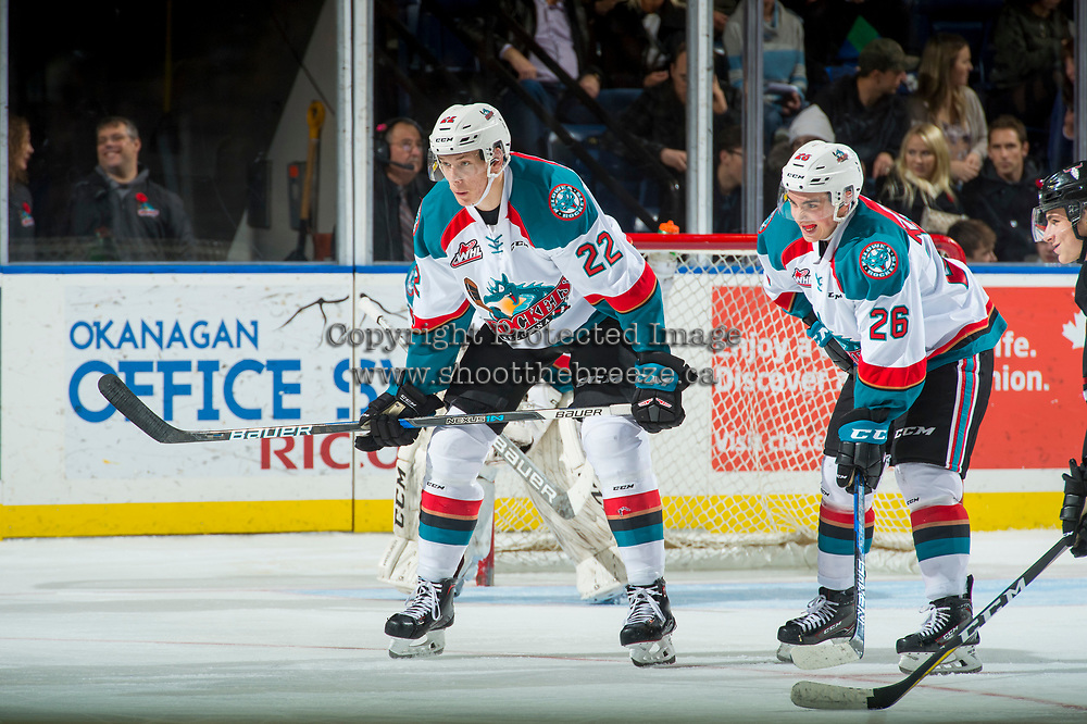 KELOWNA, CANADA - NOVEMBER 11: Braydyn Chizen #22 and Liam Kindree #26 of the Kelowna Rockets line up against the Red Deer Rebels on November 11, 2017 at Prospera Place in Kelowna, British Columbia, Canada.  (Photo by Marissa Baecker/Shoot the Breeze)  *** Local Caption ***