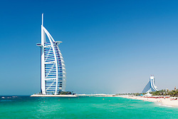 Luxury Burj al Arab Hotel on beachfront in Dubai United Arab emirates