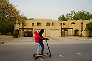 Saudi Woman can scooter, but can't drive. My daughters ride the scooter around the block of our neighborhood. Because they appear young, no one will harass them.