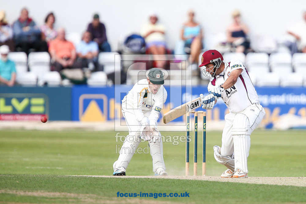 Andrew Hall of Northamptonshire County Cricket Club (right) plays the ball to the offside during the LV County Championship Div One match at the County Ground, Northampton.<br /> Picture by Andy Kearns/Focus Images Ltd 0781 864 4264<br /> 17/08/2014