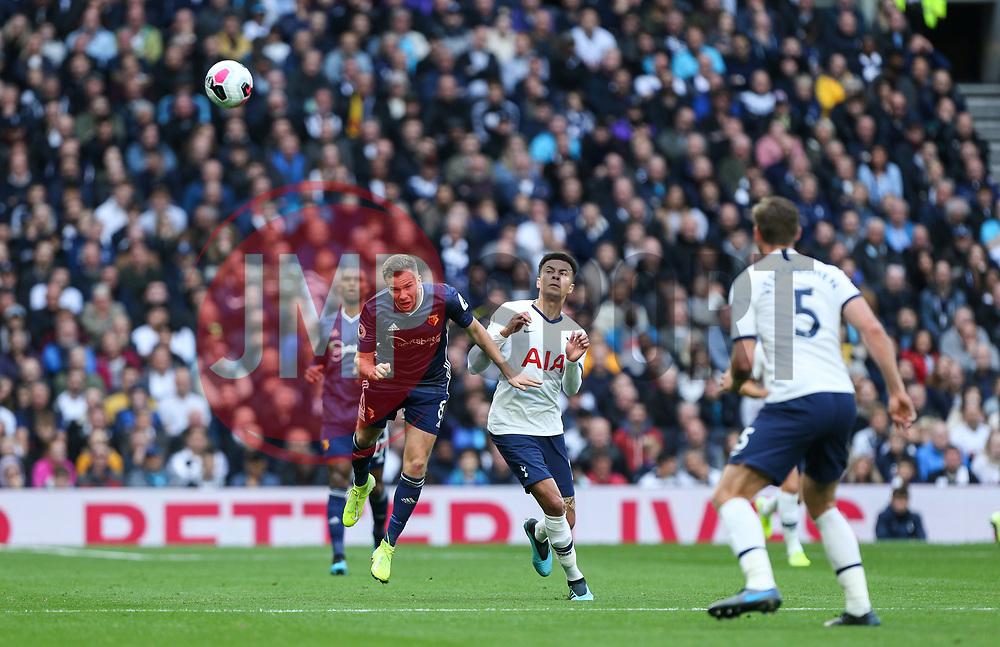 Tom Cleverley of Watford wins a header - Mandatory by-line: Arron Gent/JMP - 19/10/2019 - FOOTBALL - Tottenham Hotspur Stadium - London, England - Tottenham Hotspur v Watford - Premier League