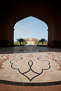 Emirates Palace Hotel. 7 Star luxury, state-owned and managed by Kempinski. View from the arch (V.I.P. entrance).