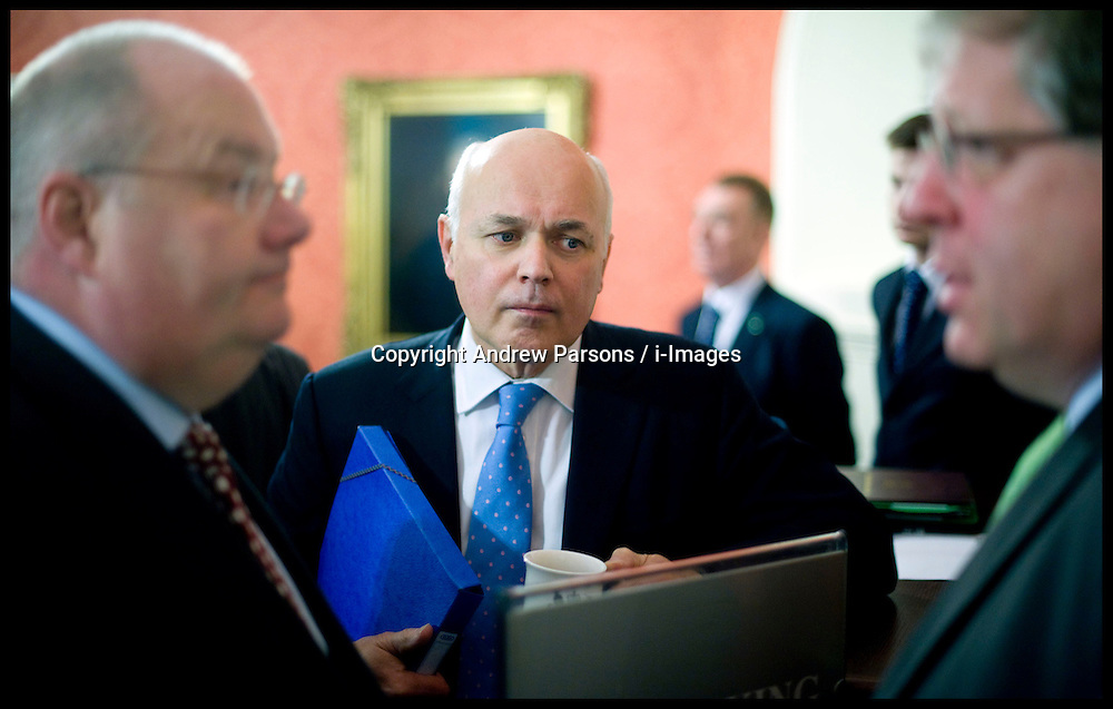 Iain Duncan Smith attends the first Cabinet meeting inside the Cabinet room, 10 Downing Street, London, UK, Thursday May 13, 2010. Photo By Andrew Parsons / i-Images